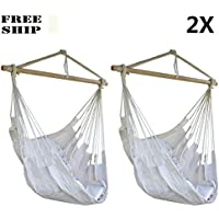 Lot 2 Hammock Hanging Chair Air Sky Swing Outdoor/Indoor Porch Patio Solid Wood