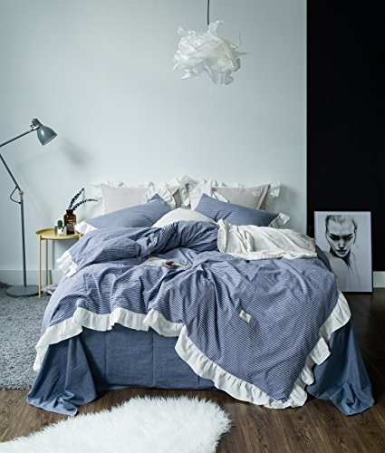 Susybao 3 Pieces Vintage Ruffle Duvet Cover Set King Size European Rural Princess Bedding 1 Duvet Cover 2 Pillow Shams Blue Sweat Romantic Solid Luxury Elegant Striped Bedding For Girls
