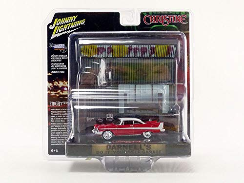 1958 Plymouth Fury Red with Darnell's Garage Interior Diorama from Christine (1983) Movie 1/64 Diecast Model by Johnny Lightning JLDR002/ JLSP032 from Johnny Lightning