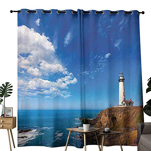 - duommhome Lighthouse Decor Collection Insulated Curtains California Pigeon Point Lighthouse in Cabrillo Coastal Highway State Route Image Print Block Light Protection Privacy W84 xL72 Blue White