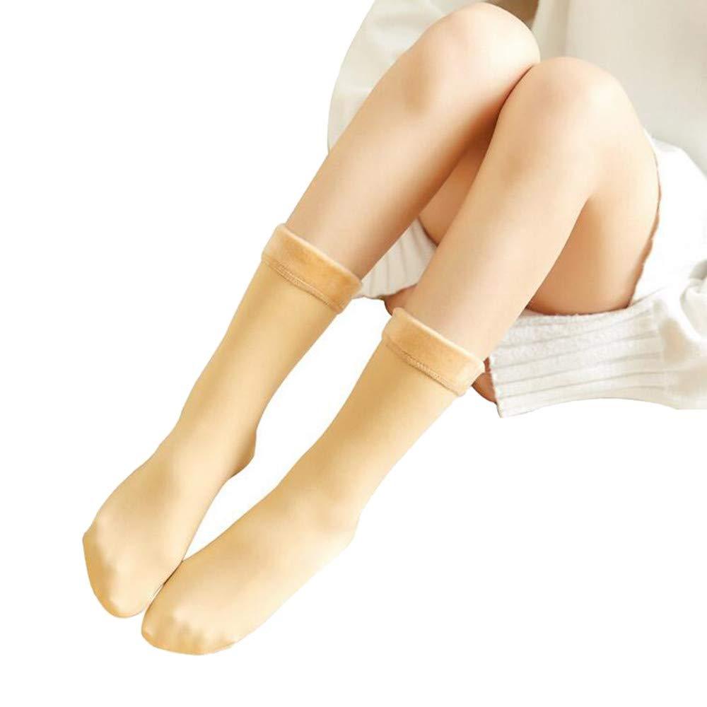 Pervobs Women Keep Warm Skateboard Sock Soft Comfortable Floor Snow Socks Plus Velvet Thickening Leggings(Yellow)