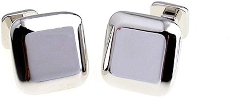 AmDxD Gemelos de Cobre para Hombres Plata Cuadrado Gemelos Camisa Gemelos Hombre Boda 1.5CM: Amazon.es: Joyería