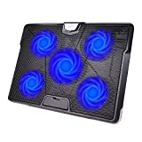 HIRALIY 5 Fans Laptop Cooling Pad 12''-17'' Cooler Pad Chill Mat with LED Light Dual USB 2.0 Ports Adjustable Mount Stand (Black+Blue)