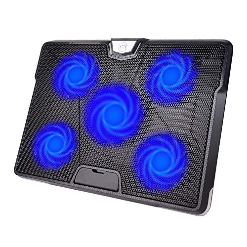 "HIRALIY 5 Fans Laptop Cooling Pad 12""-17"" Cooler Pad Chill Mat with LED Light Dual USB 2.0 Ports Adjustable Mount Stand (Black+Blue)"