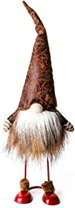 ITOMTE Handmade Swedish Gnome, Scandinavian Tomte, Yule Santa Nisse, Spring Nordic Figurine, Plush Elf Toy, Home Decor, Table Ornament, Christmas Decorations, Holiday Presents - 17 Inches, Leather