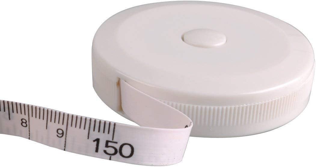 Wei/ß Ma/ßband einziehbare Double-scale Ma/ßb/änder 5 St/ück Flexible Ma/ßband mit Push-Button f/ür K/örper Messung Bekleidung Gewichtsverlust 150cm 60 Zoll
