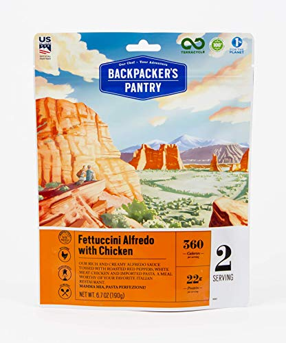 Backpacker's Pantry Fettuccini Alfredo with Chicken, 2 Servings Per Pouch, Freeze Dried Food, 22 Grams of Protein