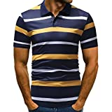 vermers Mens Fashion Polo Shirts Summer Casual Buttons Striped Short Sleeve T Shirt(L, Yellow)