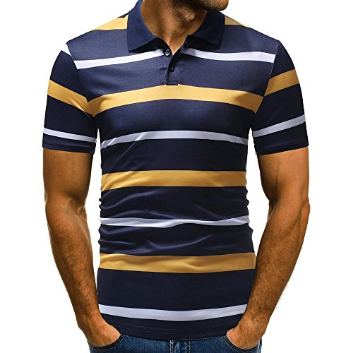 vermers Mens Fashion Polo Shirts Summer Casual Buttons Striped Short Sleeve T Shirt(L, Yellow) by vermers (Image #5)