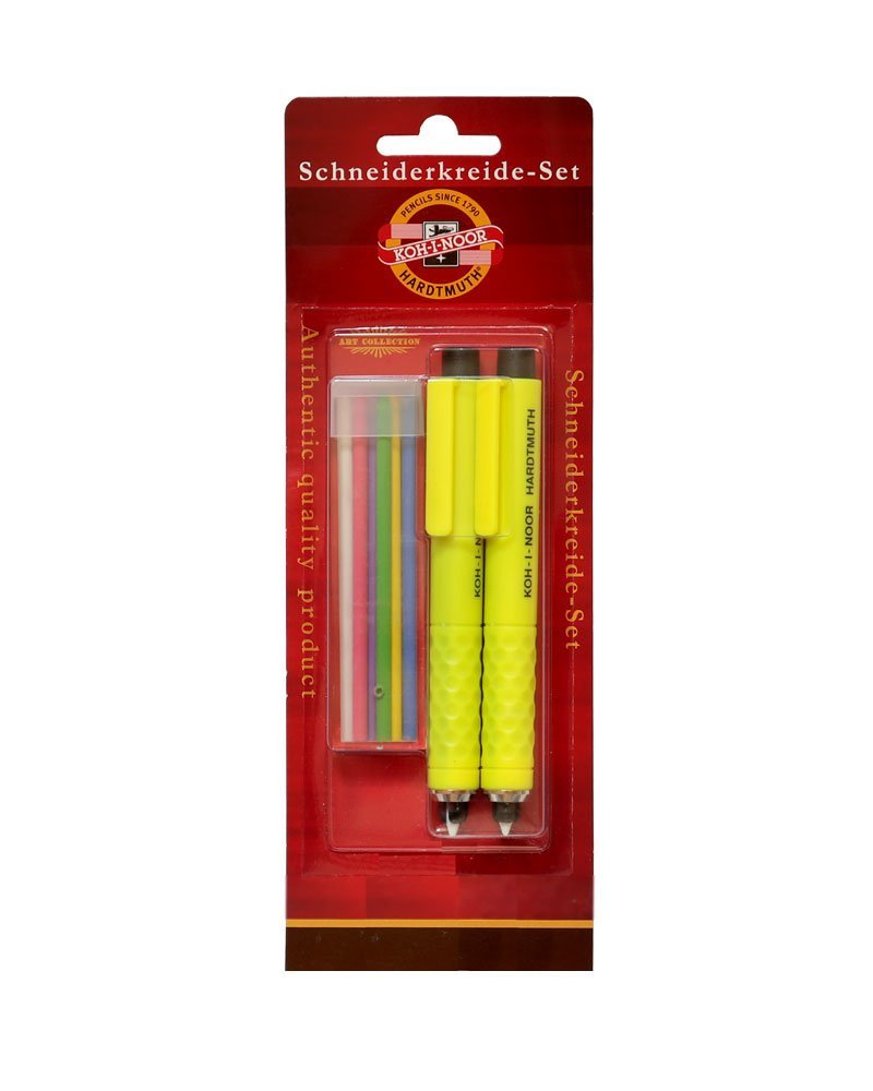 2 St/ück mit 6 Ersatzminen Schneiderkreide Set Schneider Kreide gr/ün rot blau wei/ß gelb violett KOH-I-NOOR Schneiderkreidestift