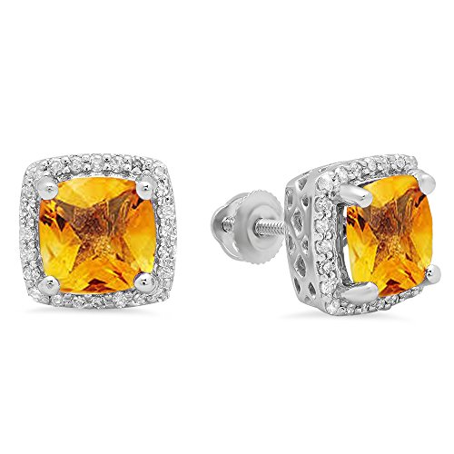 Diamond Citrine And Earrings (10K White Gold 7 MM Each Cushion Citrine & Round Diamond Ladies Square Frame Halo Stud Earrings)