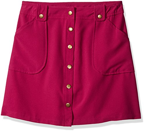 Amy Byer Spandex Skirt (Amy Byer Big Girls' Snap Front Skirt WIT Pockets, Berry, Medium)