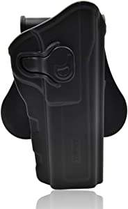 XSHION Browning Hi Power Holster, OWB Holster Outside The Waistband Carry Holster with 360 Rotations Paddle for Browning Hi Power - Right-Handed Black