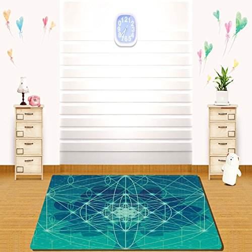 HAIXIA rugs Sacred Geometrty Decor Digital Futuristic Tree of Life Icon with Space Plains Archaic Pattern Full Green