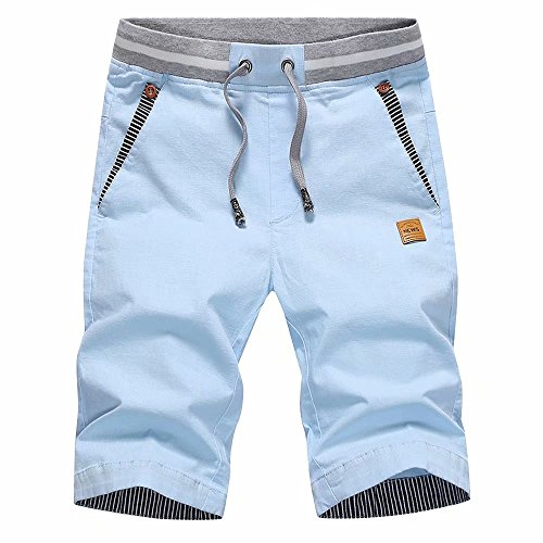 STICKON Men's Shorts Casual Classic Fit Drawstring Summer Beach Shorts with Elastic Waist and Pockets (Sky Blue, US 3XL=5XL)