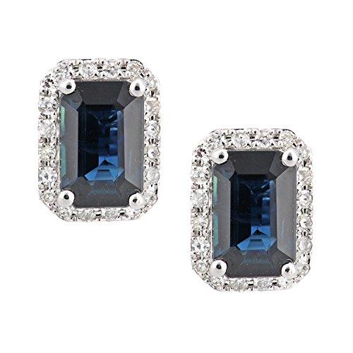 Revoni Bague en or blanc-18carats Saphir et Diamant Boucles d'oreilles clous carré