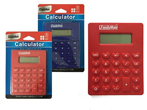 CALCULATOR 4.88X3.75X4'' RED BLUE CLR , Case of 96