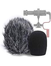 VideoMicro Microphone Foam windscreen & Deadcat Wind Shield, Foam & Furry Wind Muff for Rode VideoMicro and VideoMic Me Me-L Mic (2 Pack)