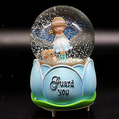 Nona7654 Music Boxes for Girls Large Flower Bud Angel Floating Snowflake Lamp Crystal Ball Gift for Girls