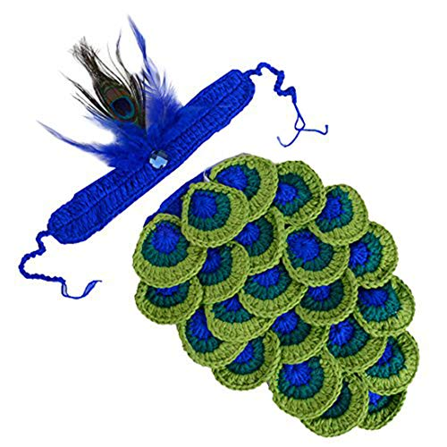UOMNY Baby Newborn Photography Props Handmade Crochet Knitted Peacock Outfit Costumes Photo Props ()