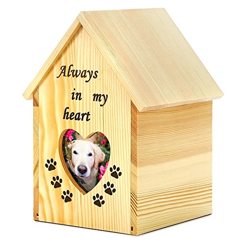 Tribute Box Wooden (Pidsen Pet House Shape Cremation Urn Peaceful Memorial Keepsake Urn with Heart-shaped Photo Box For Dog Cat (M))