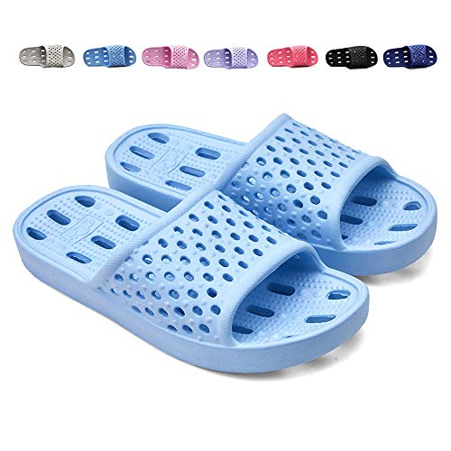 XUANHSU Shower Shoes for Women Bathroom Slippers Non Slip Soft Sandals Swimming Water Shoe (US 5-5.5 Women, Light Blue)