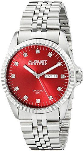 August Steiner Men's AS8169RD Silver Quartz Watch with Red Dial and Silver Bracelet