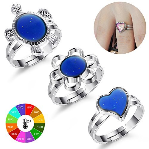 Finrezio Color Changing Mood Ring for Women and Girls Turtle/Flower/Heart Shaped Rings Adjustable Size 3Pcs (Rings Mood Free)