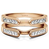 TwoBirch 0.75 ct. Cubic Zirconia Cathedral Style Channel Set Princess Cut Ring Guard in Rose Gold Plated Sterling Silver (3/4 ct. twt.)