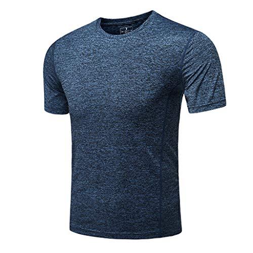 (Duseedik Men's Summer T-Shirt, Solid Short Sleeve Crew Neck Gym Workout Muscle Quick-Dry Breathable Top Blouse Dark Blue )