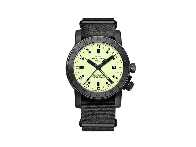 Reloj Automático Glycine Airman 42, GL 293, GMT, PVD, Amarillo, GL0069: Amazon.es: Relojes