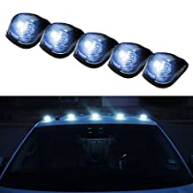 iJDMTOY 5pcs Black Smoked Cab Roof Top Marker Running Lamps w/ Xenon White LED Light Bulbs For Truck Pickup 4x4 SUV