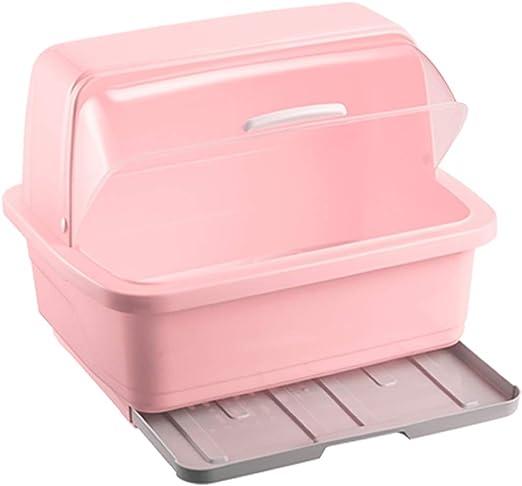 Compra ZJ-Porta cuchillos Rack de Drenaje Armarios for el hogar Plástico con Tapa Cubiertos Caja de Almacenamiento Racks de Cocina Rack de vajilla económico (Color : Pink, Size : L) en Amazon.es