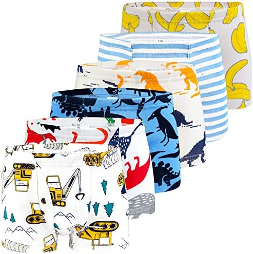 YoungSoul Boys Cotton Briefs Kids Dinosaur Underwear for Toddlers 6 Pack 2-9 Yrs