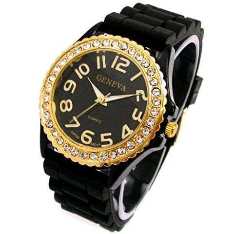 Geneva Black Silicone Ceramic Style Wrist Watch Surrounded with Gold Trim and Sparkly Rhinestones (Geneva Watches Men Gold)
