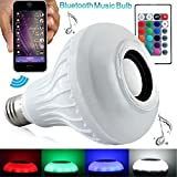 niceEshop(TM) Intelligent E27 LED White + RGB Light Ball Bulb Color Changing Lamp Smart Music Audio Bluetooth 3.0 Speaker with 24keys Remote Control for Home, Stage(White)
