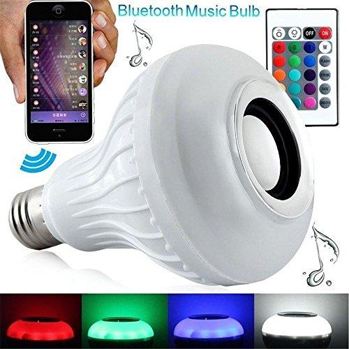 niceEshop(TM) Intelligentes E27 LED Weiß + RGB Helle Kugel Birnen Farben ändernde Lampe Intelligente Musik Audio Bluetooth 3.0 Lautsprecher mit 24 Tasten Fernsteuerungs für Haus, Stadium (Weiß)