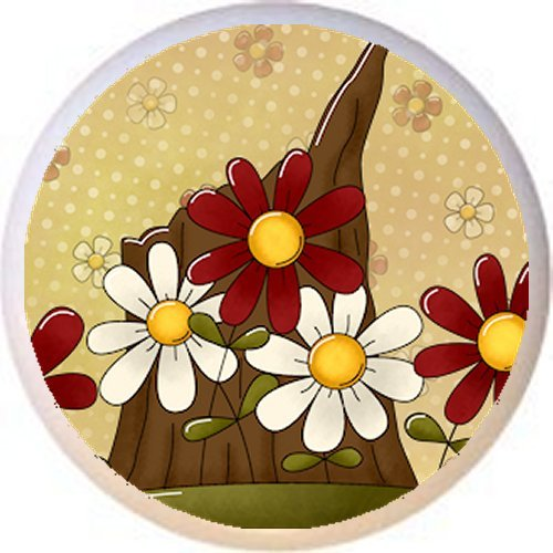 DESIGN #4 FLOWERS and TREE STUMP - Peaceful Petals Country BC - DECORATIVE Glossy CERAMIC Drawer PULL Dresser KNOB (Knob Petal Design Flower)