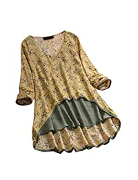 Dressin 2019 Blusa Tipo túnica para Mujer, Cuello Alto, Manga Larga, Casual, de algodón, Suelta, Suave, Talla Grande