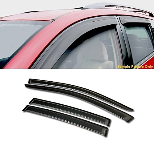 VXMOTOR Curved Style Sun/Rain Guard Smoke Vent Shade Deflector Window Visors 4PC For 2007-2010 Chrysler Sebring 4 Door Sedan Models, 2011-2014 Chrysler 200 4 Door Sedan (4 Door Sedan Models)