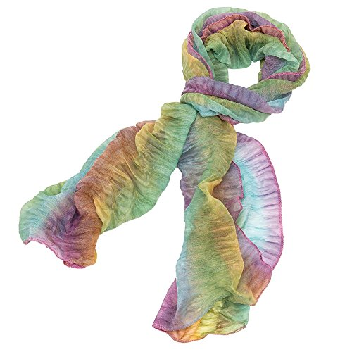 Multi Color Ruffle Stretch Scarf (Pink/Green/Yellow) (Scarf Silk Stretch)