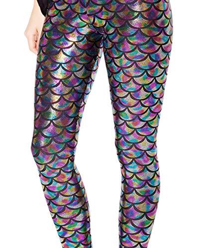 Alaroo Women Bling Mermaid Print Scale Leggings Pants Rainbow M