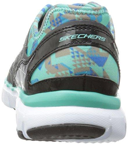 Skechers Skech-Flex-Tropical Vibes, Zapatillas de Deporte Mujer Charcoal Synthetic/Mesh/Aqua Trim