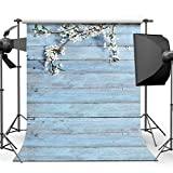 Dobeans 6ft(W) x 9ft(H) Seamless Backdrop Wedding Photography Backdrops Light Blue Wood Wall Flower Photo Background