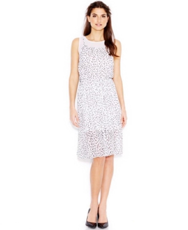 kensie Printed Layered Dress White Multi Large