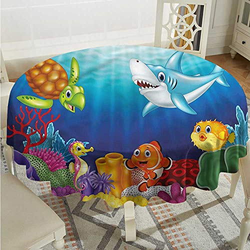 Tim1Beve Aquarium Water Resistant Table Cloth Exotic Happy Ocean World Stain Resistant, Washable D50 INCH