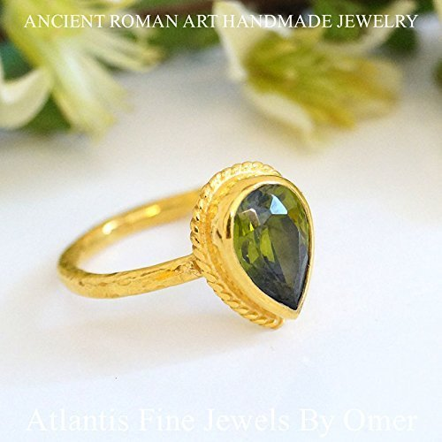 PEAR PERIDOT TOPAZ RING 24K GOLD OVER STERLING SILVER HANDMADE BY OMER