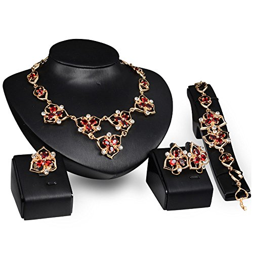 Gold Box Jewelry Floral (Rhinestone Gold Plated Cubic Zirconia Flower Costume Fashion Earrings Necklace Set for Women Girls)