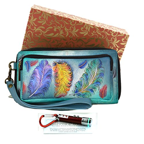 anuschka-leather-rfid-wristlet-wallet-silver-fever-keychain-floating-feathers