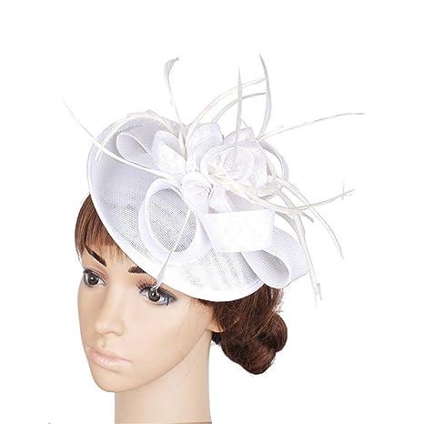 Jusheng Elegante Cappellino da Cocktail da Donna con Cappelli per Halloween  Accessori per Capelli con Piuma 6d6549c88965